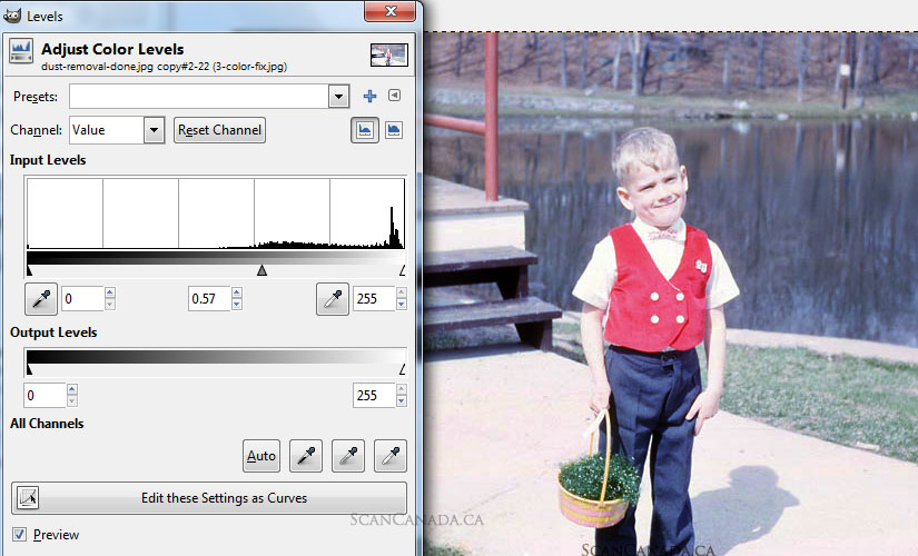 How to adjust colour levels to fix exposure from a slide scan using gimp