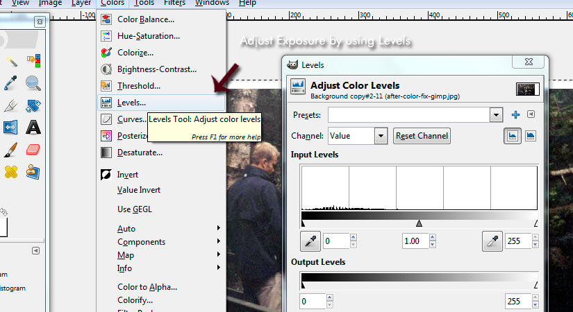 How to adjust Levels in GIMP to fix photo scan exposure
