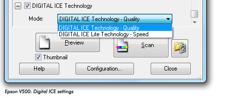 epson digital ice setting slide scan