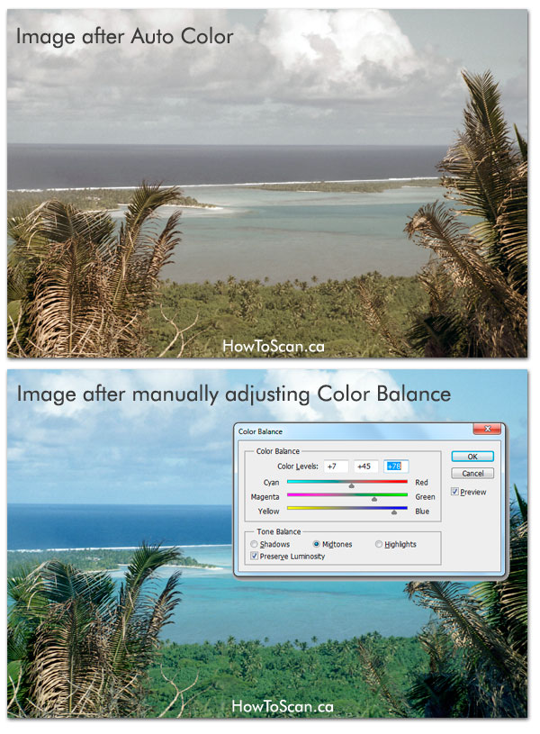 fix photo scan color balance photoshop