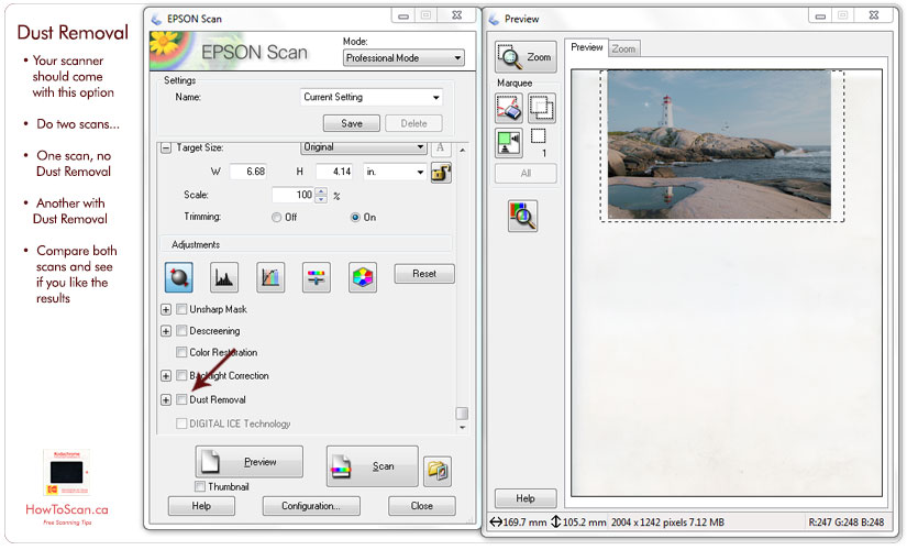 How to setup your scanner software for dust removal