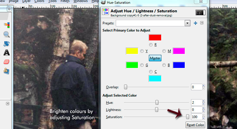 Use the Hue and Saturation in GIMP to make photo scan colour brighter