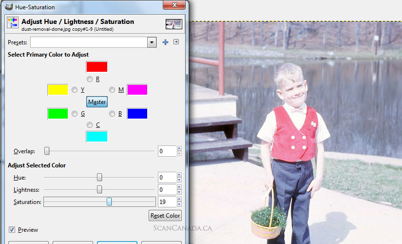 fix hue saturation slide scan gimp