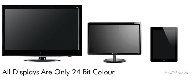 All monitors, tv, tablets display at 24 bit colour
