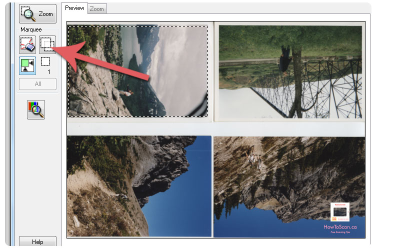 Make copies of the marquee selection tool and crop the rest of your photos