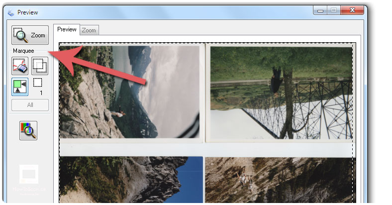 Use the marquee tool to crop your photo scans