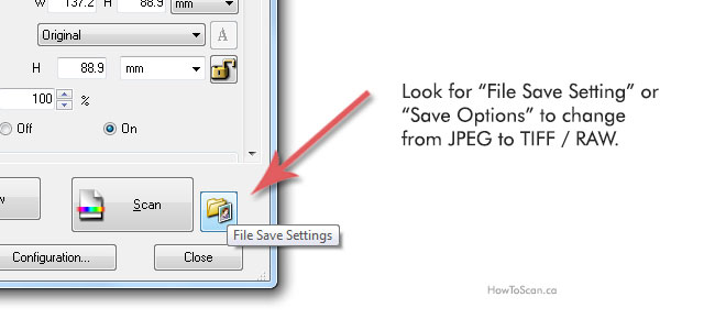 Your scan software will have file save options so you can save as jpeg or tiff raw