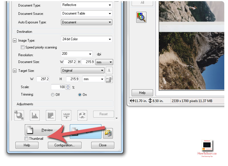 Click Thumbnail in your scanner software to auto-crop your photos