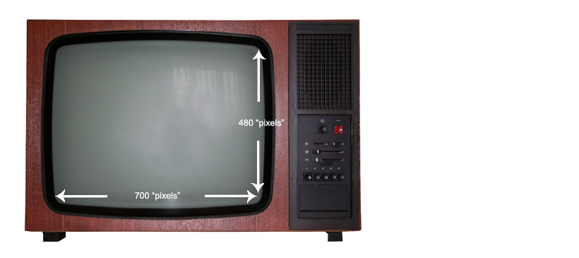 A standard tv has a dimension of 700 x 480