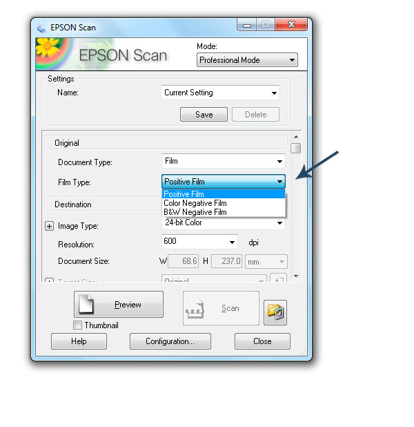 How to setup your scanner for slides