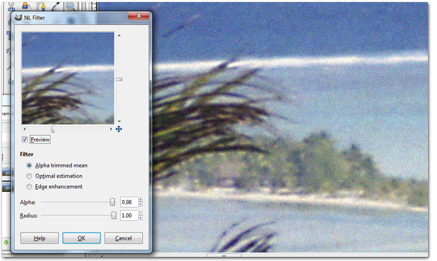 How to use NL Filter in GIMP to reduce negative film scan grain
